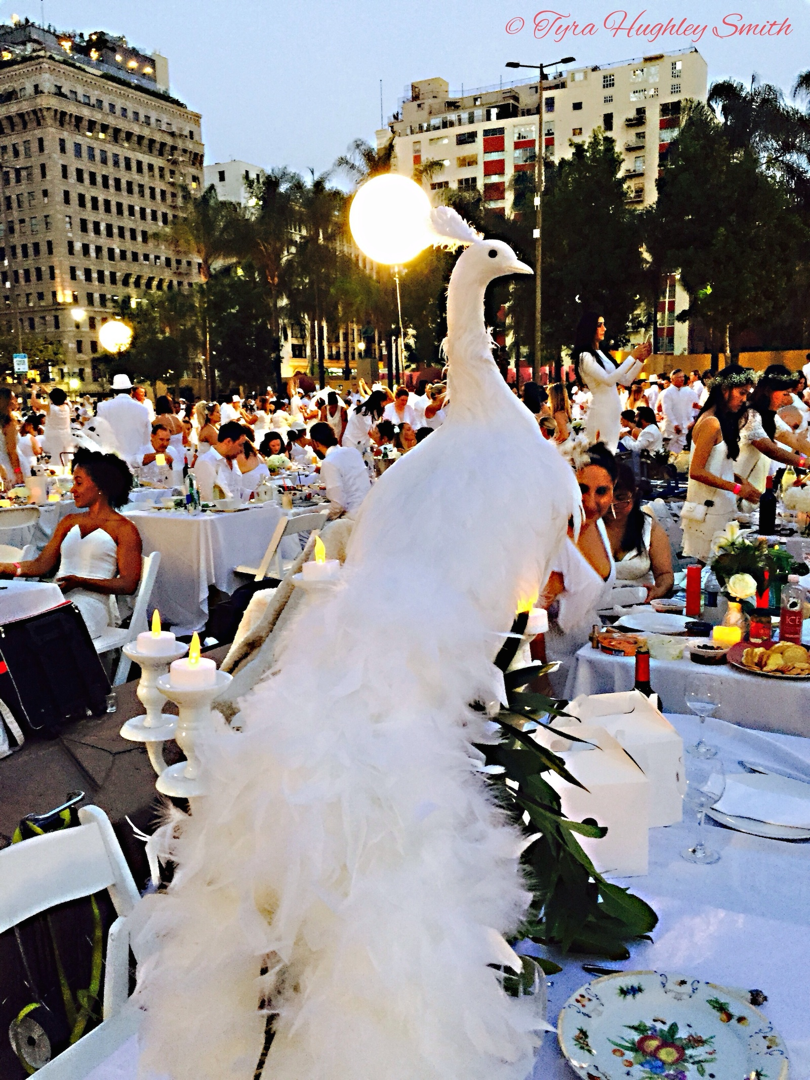 BarrisTourista-Diner en Blanc Los Angeles 2015 Peacock centerpiece